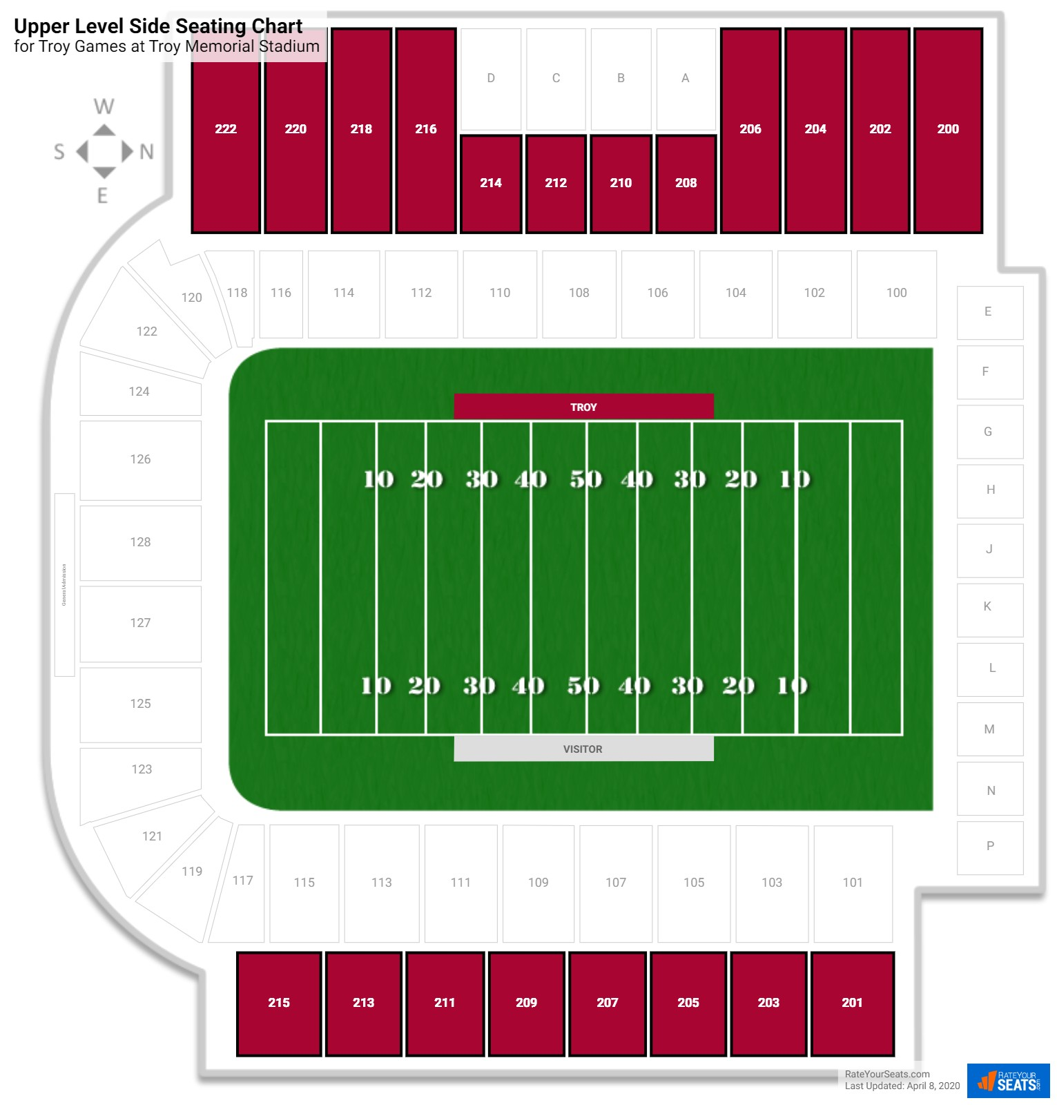 Troy Memorial Stadium Upper Level Side seating chart