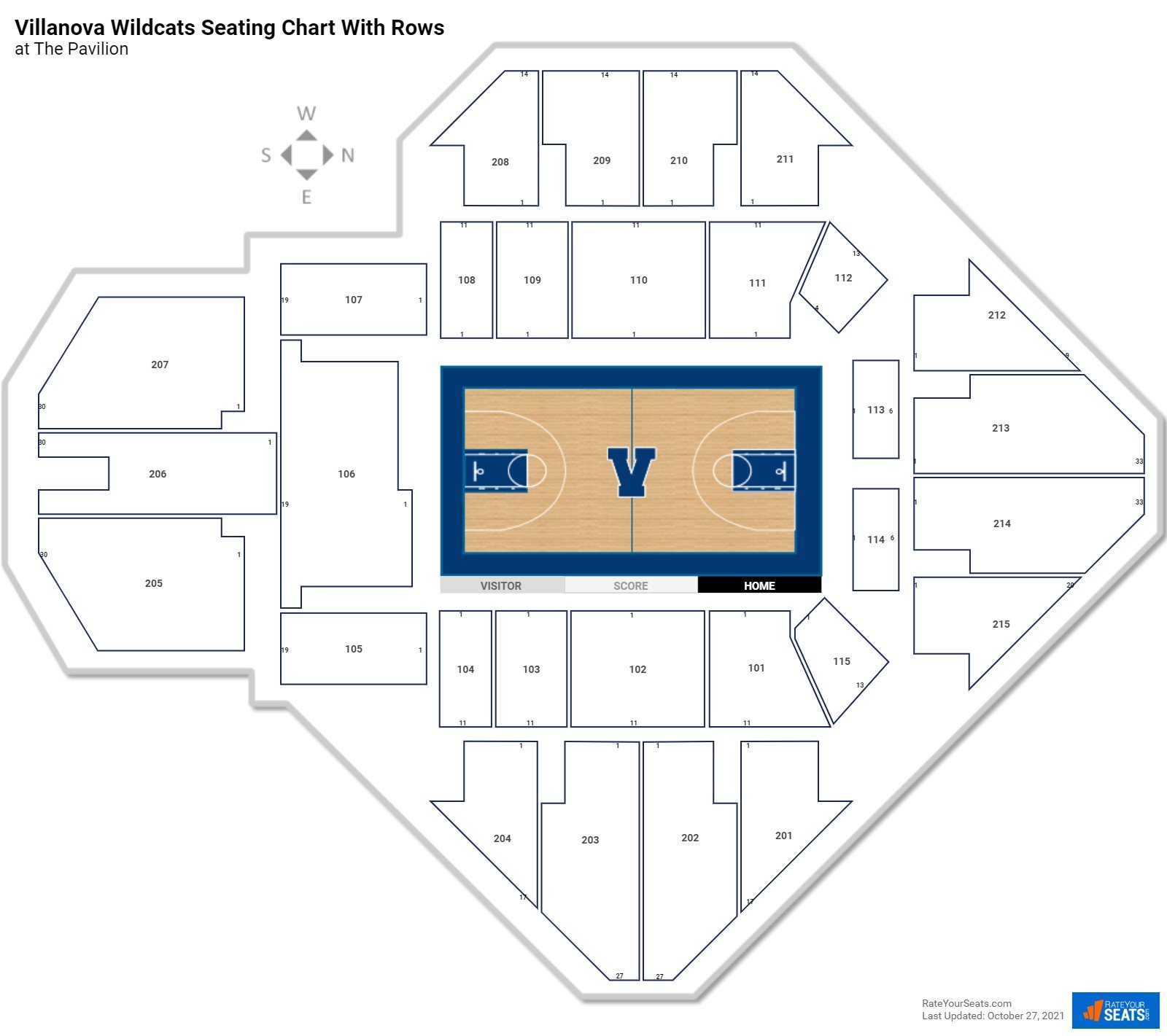 The Pavilion seating chart with rows