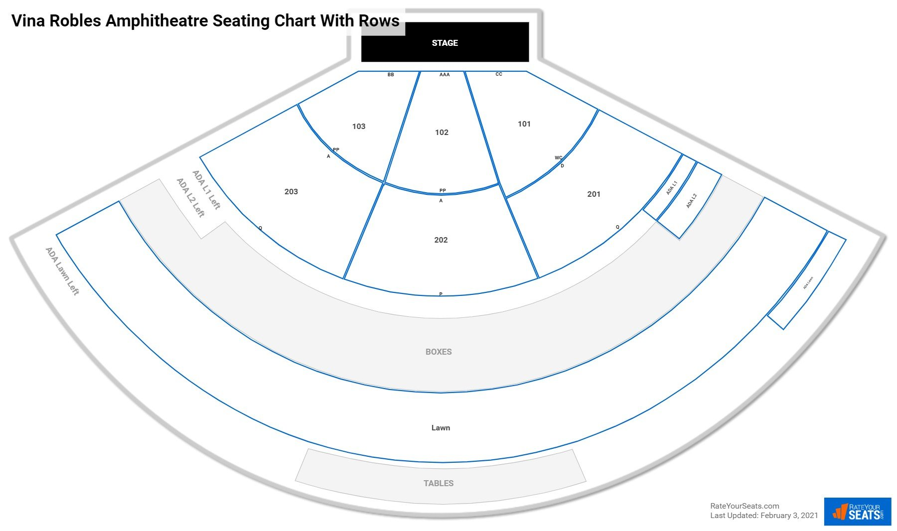 Vina Robles Amphitheatre seating chart with rows