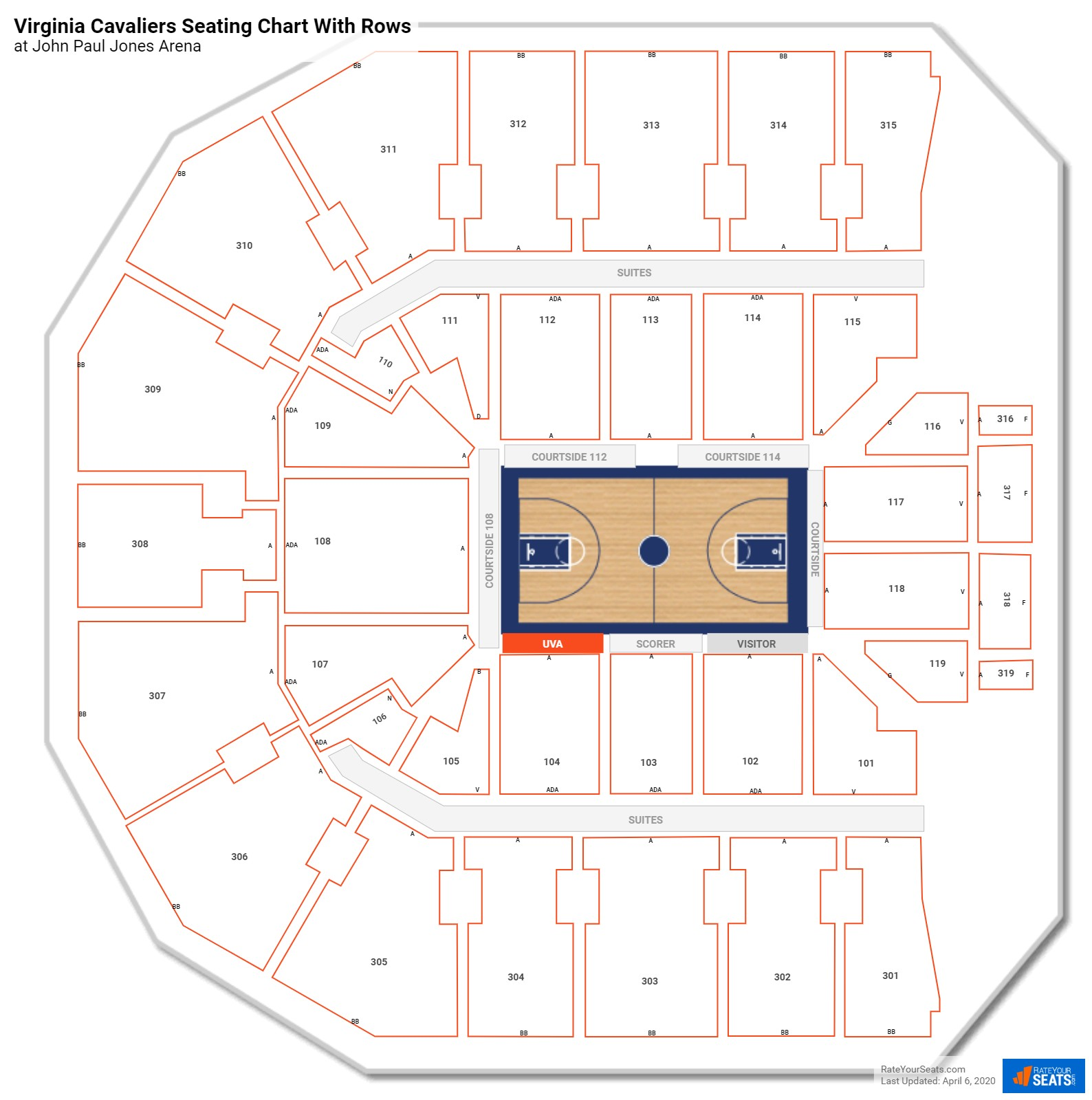 John Paul Jones Arena seating chart with rows