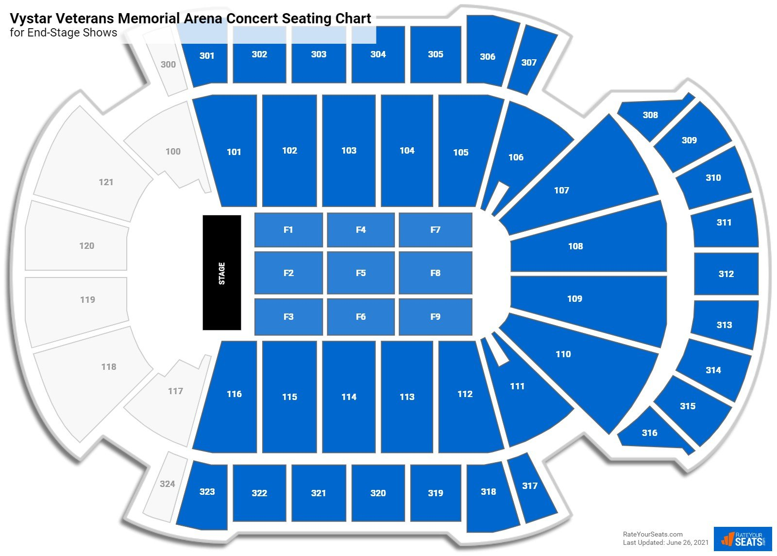Vystar Veterans Memorial Arena Seating Chart for Concerts