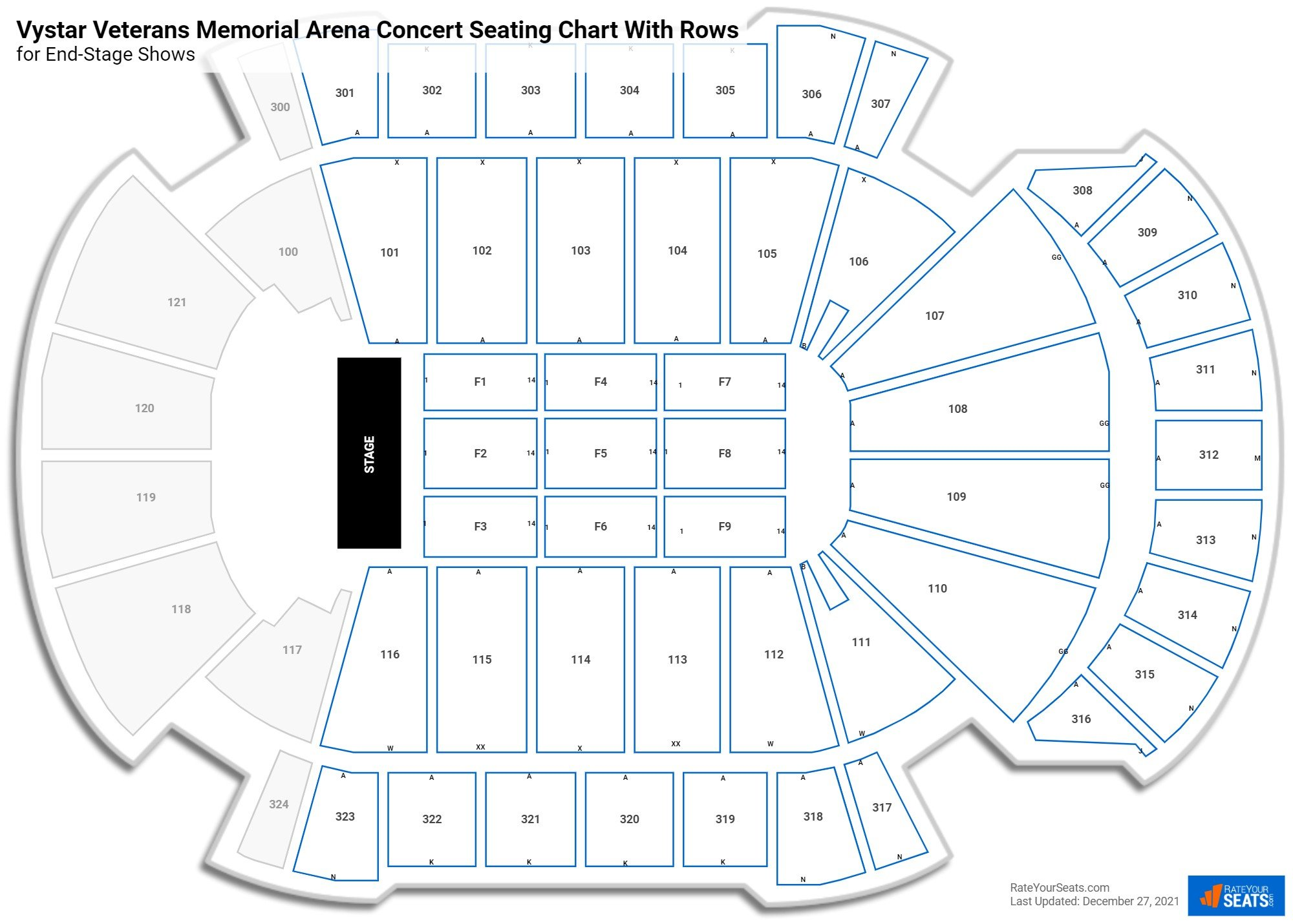 Vystar Veterans Memorial Arena seating chart with rows concert