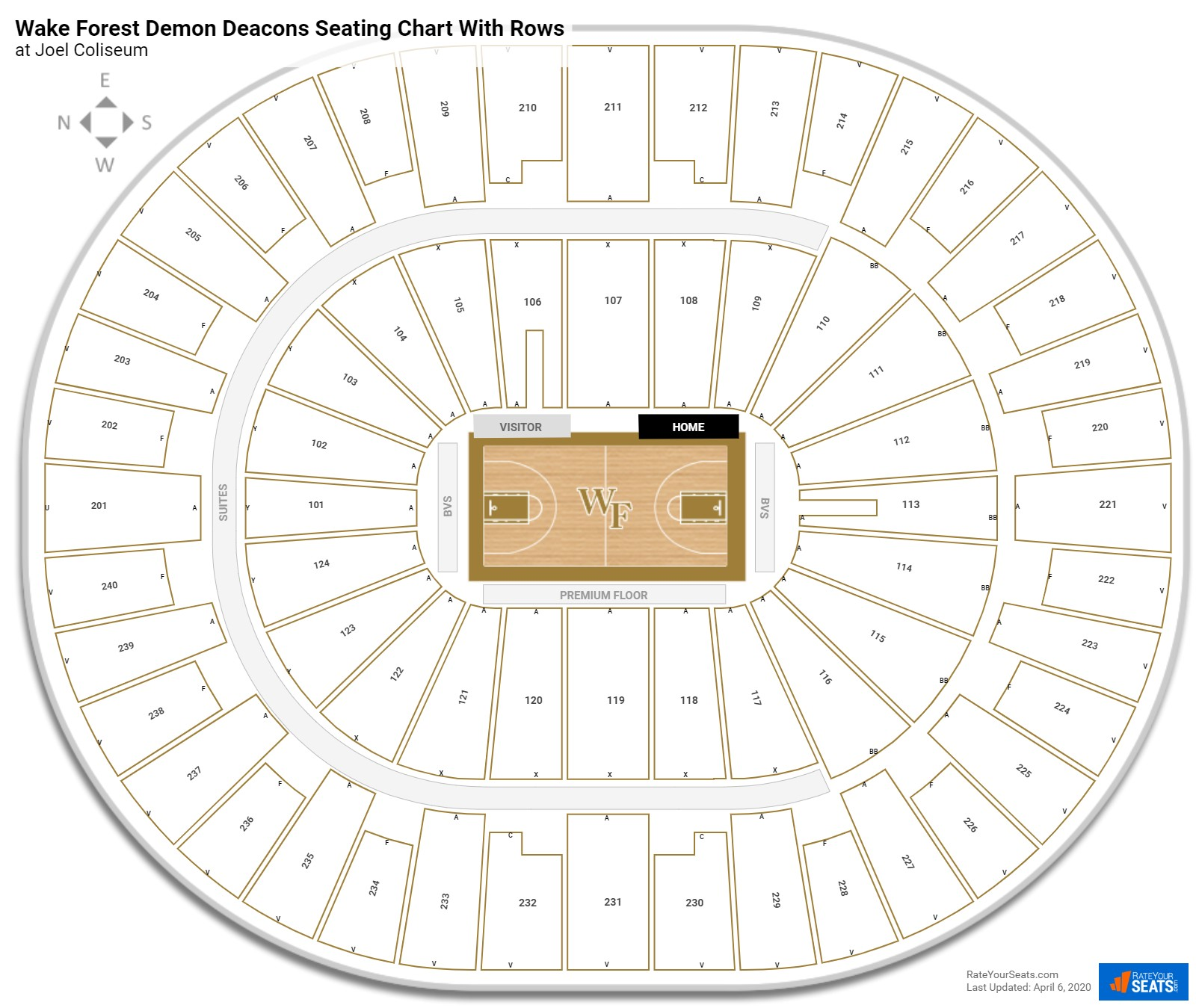 Joel Coliseum  seating chart with rows