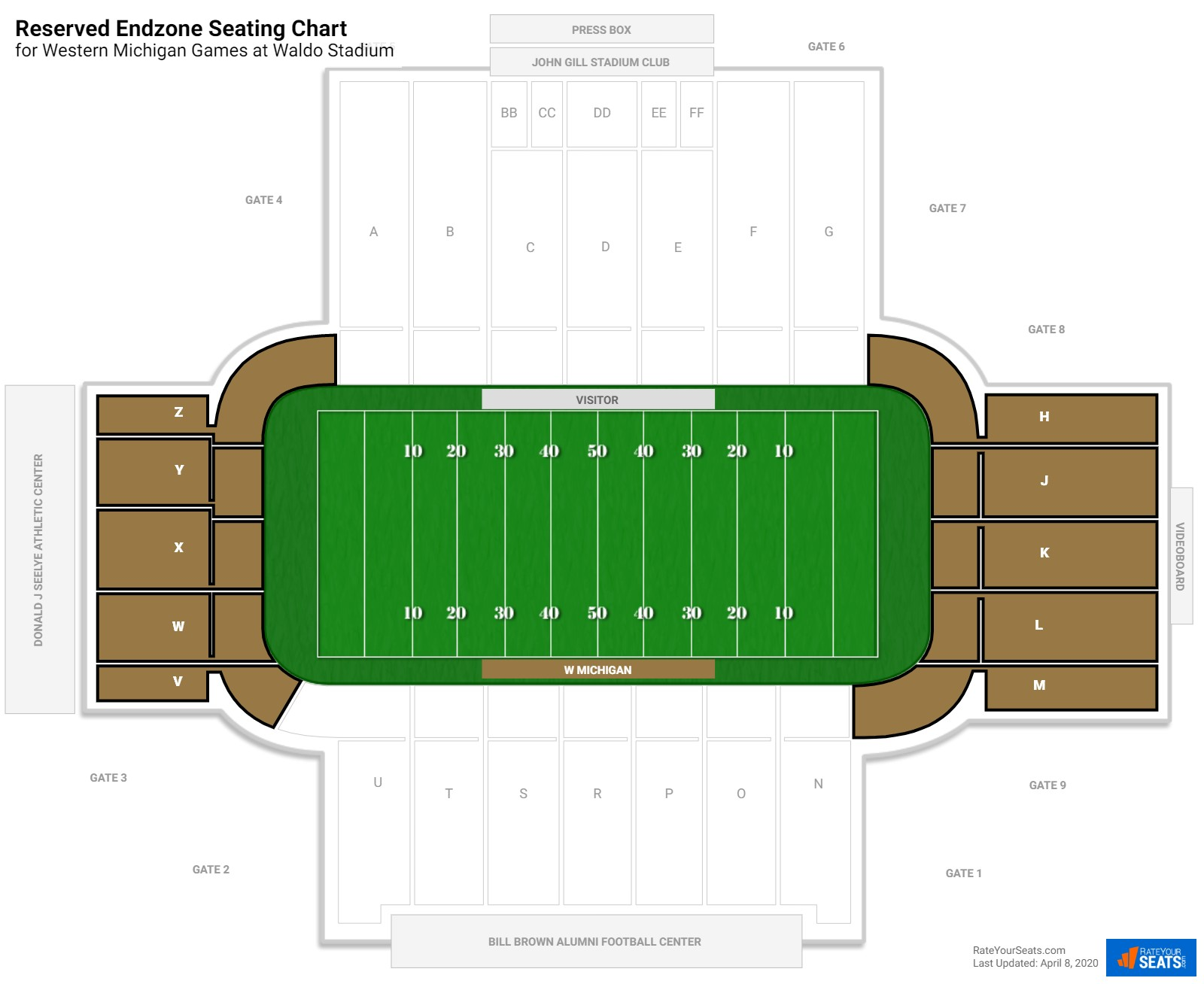 Waldo Stadium Reserved Endzone seating chart