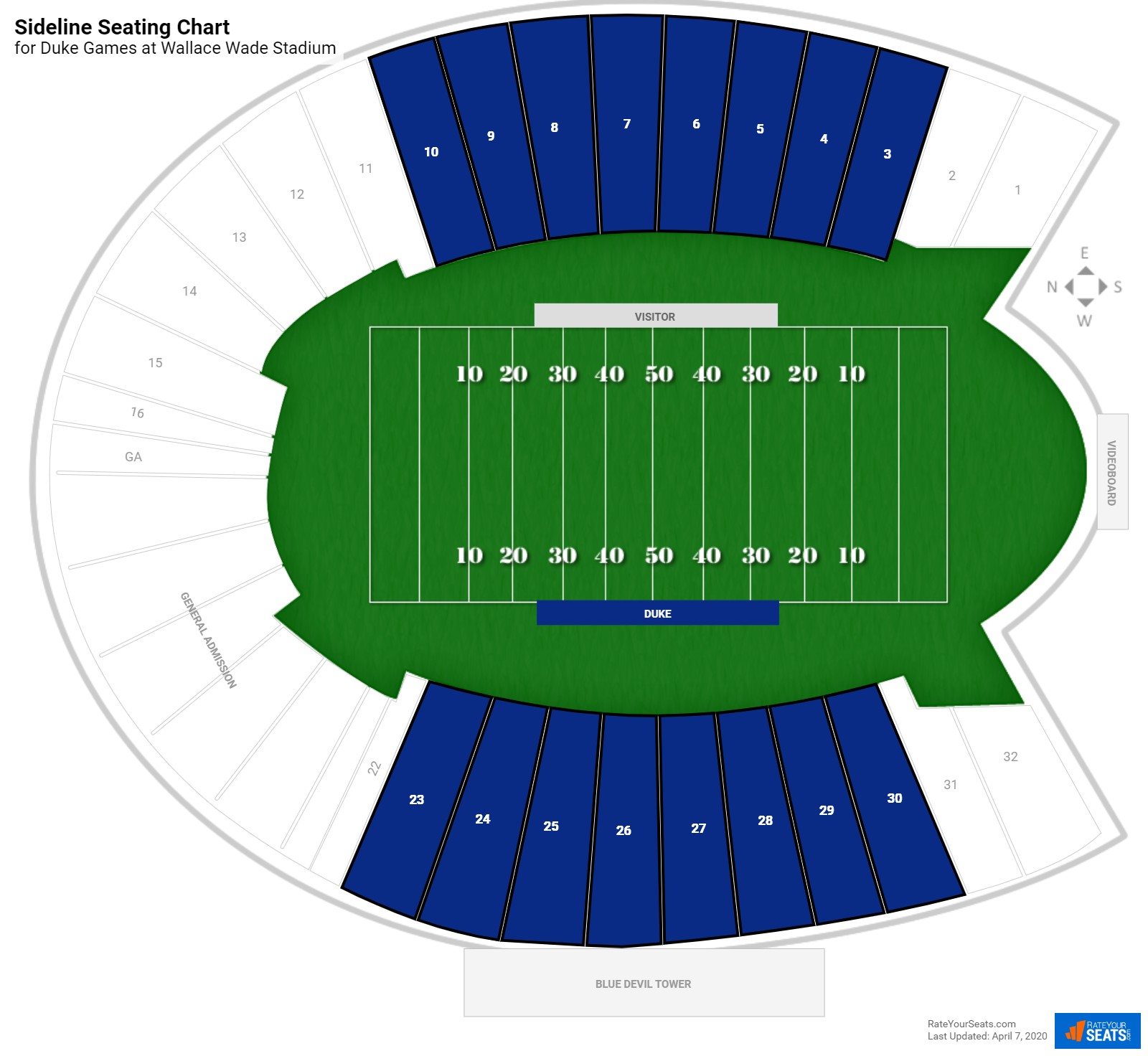Wallace Wade Stadium Sideline seating chart