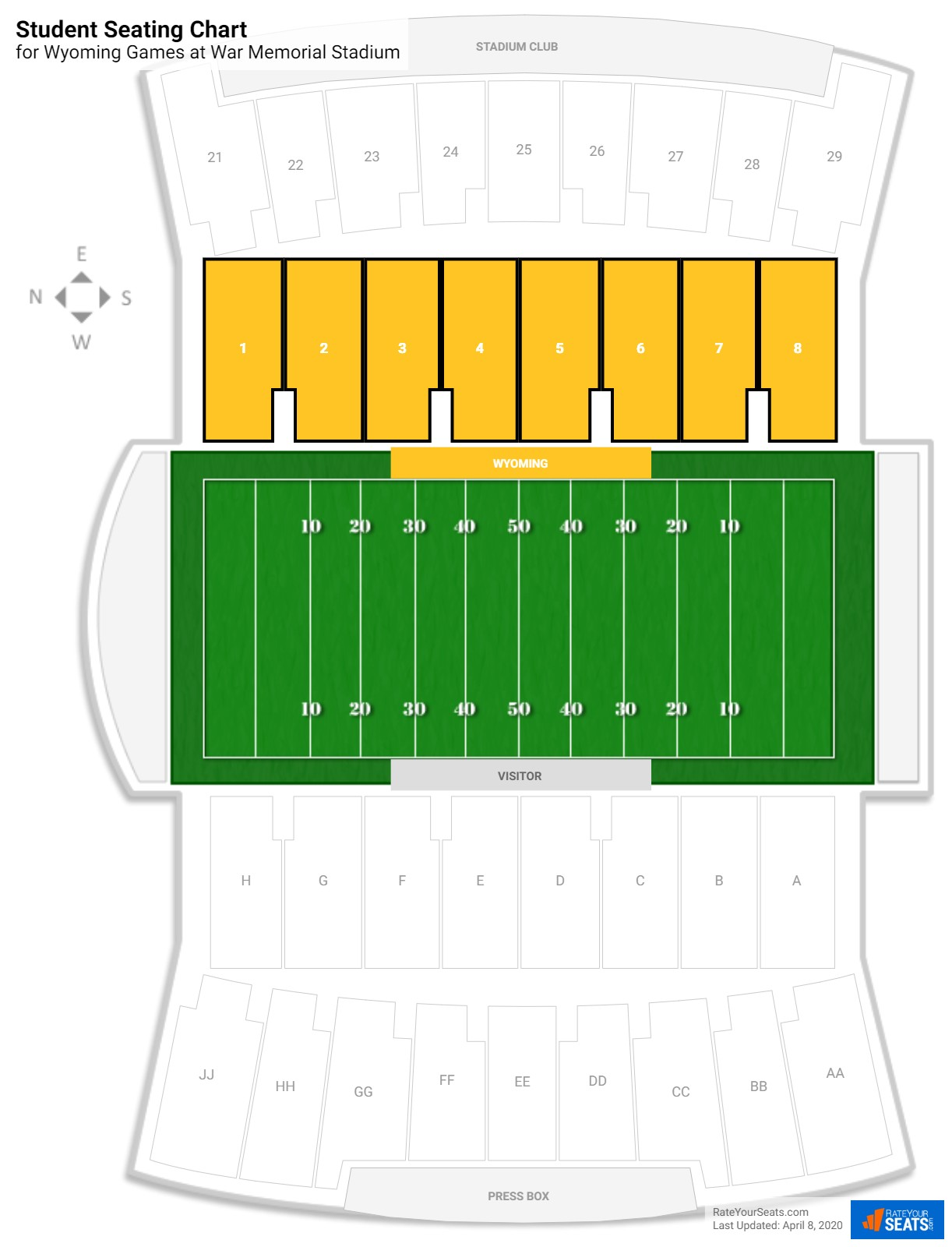 War Memorial Stadium Student seating chart