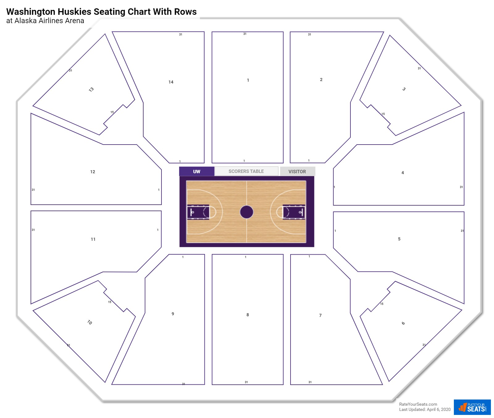 Alaska Airlines Arena seating chart with rows