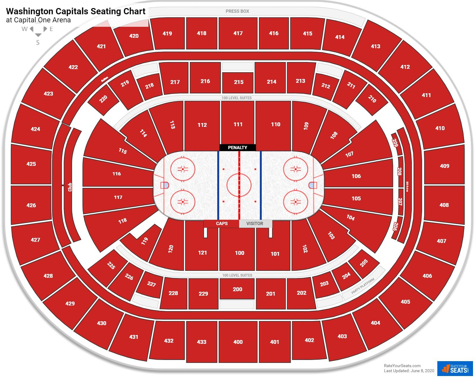 Washington Capitals Seating Charts At Capital One Arena Rateyourseats Com