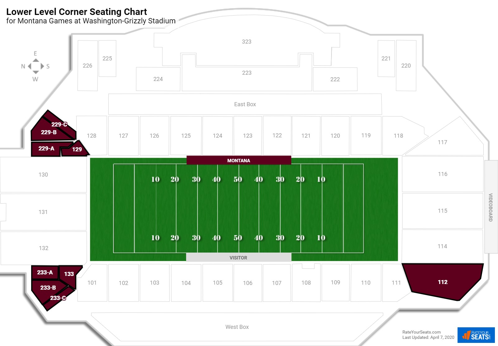 Washington-Grizzly Stadium Lower Level Corner seating chart