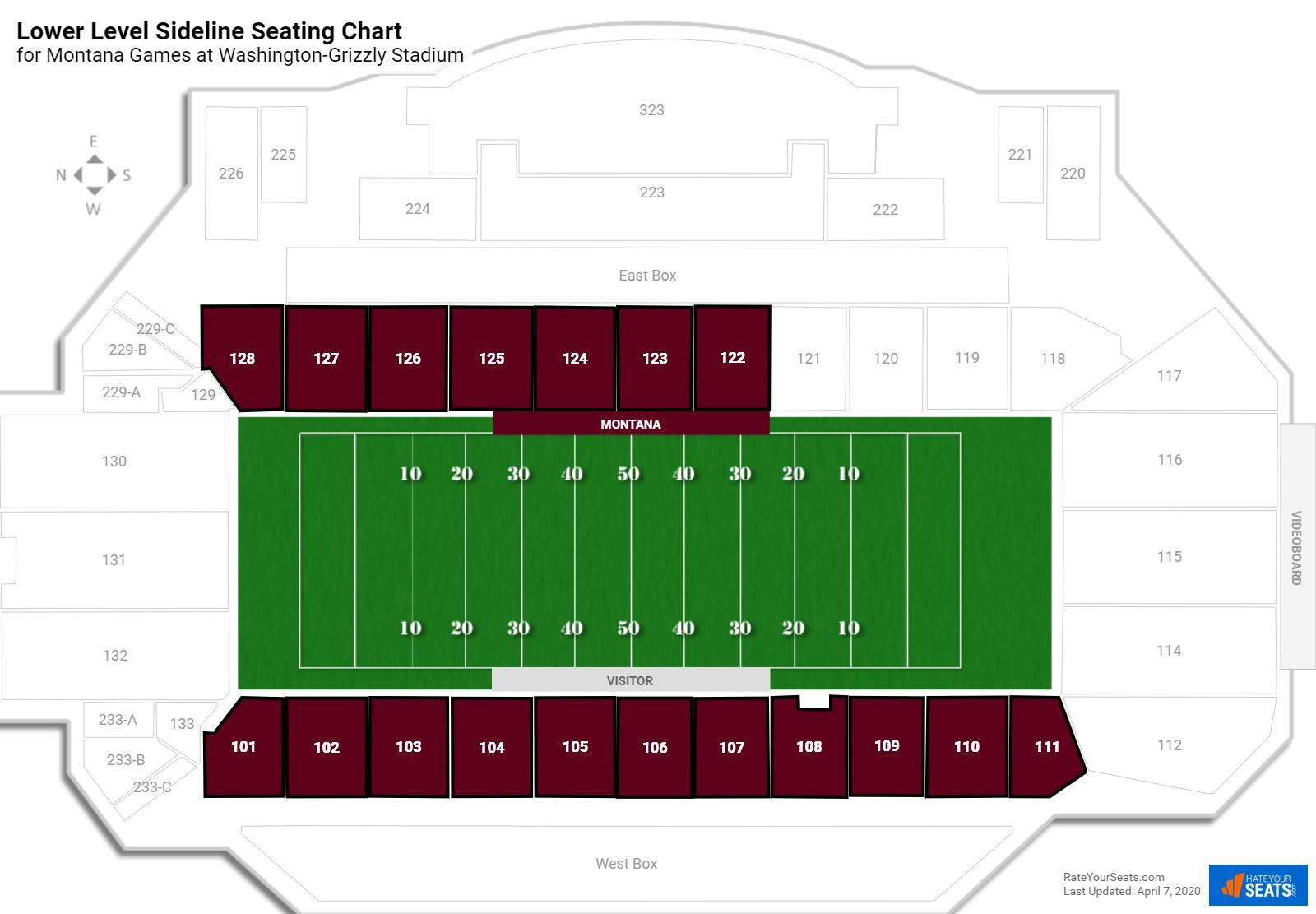 Washington Grizzly Stadium Student Football Seating