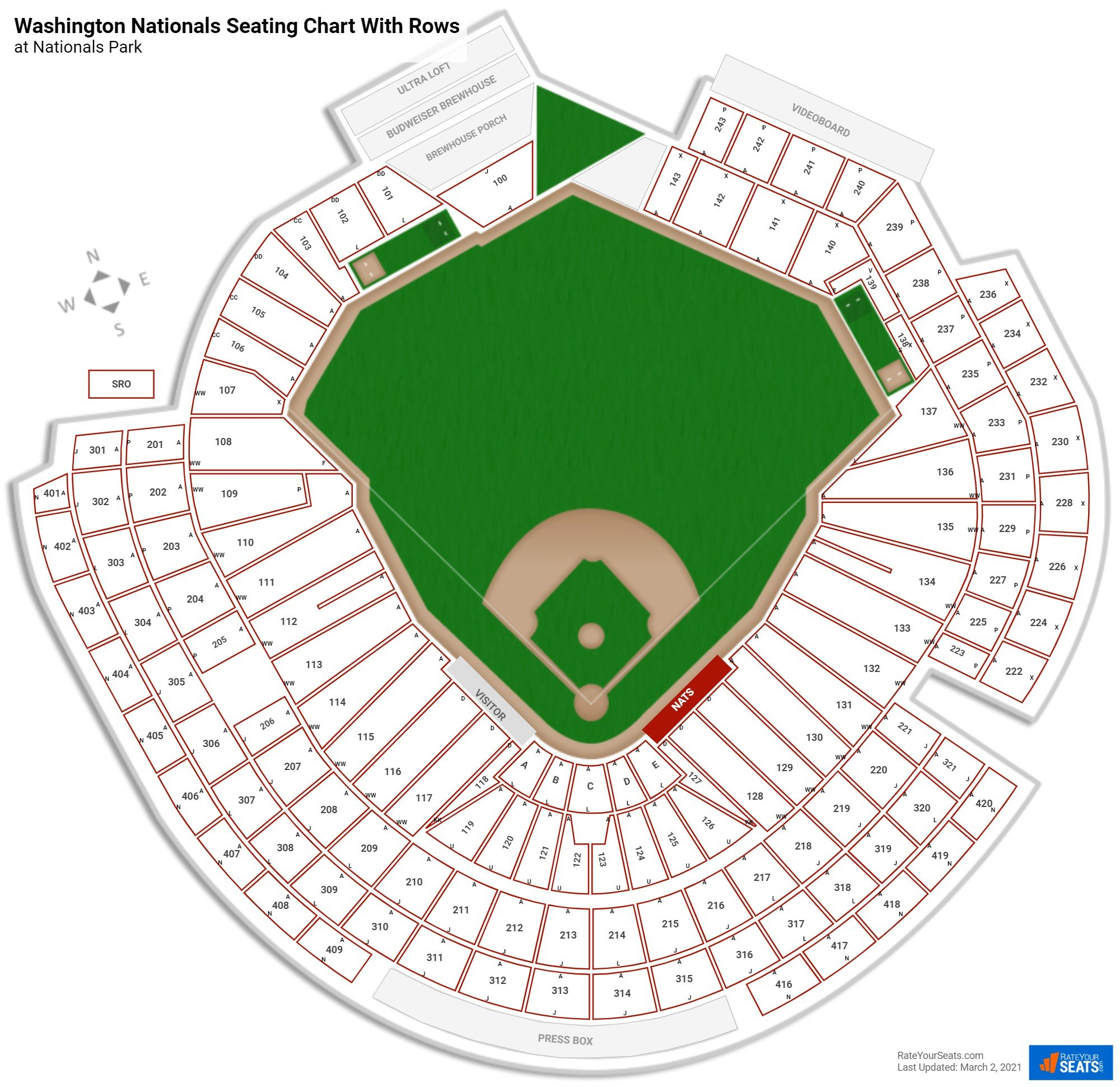 Nationals Park seating chart with rows baseball