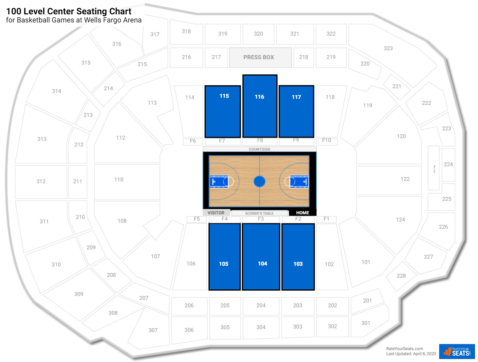 Wells Fargo Arena 100 Level Center seating chart