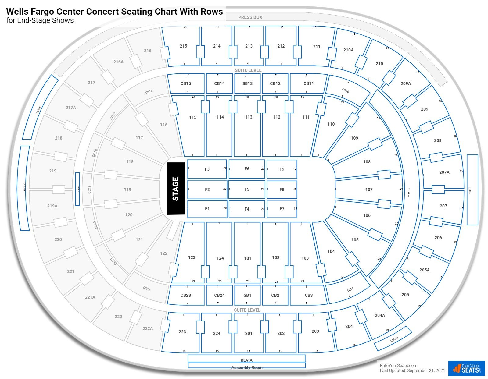 Wells Fargo Center seating chart with rows concert