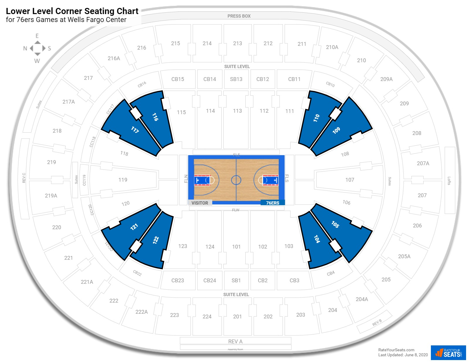 Wells Fargo Center Lower Level Corner seating chart