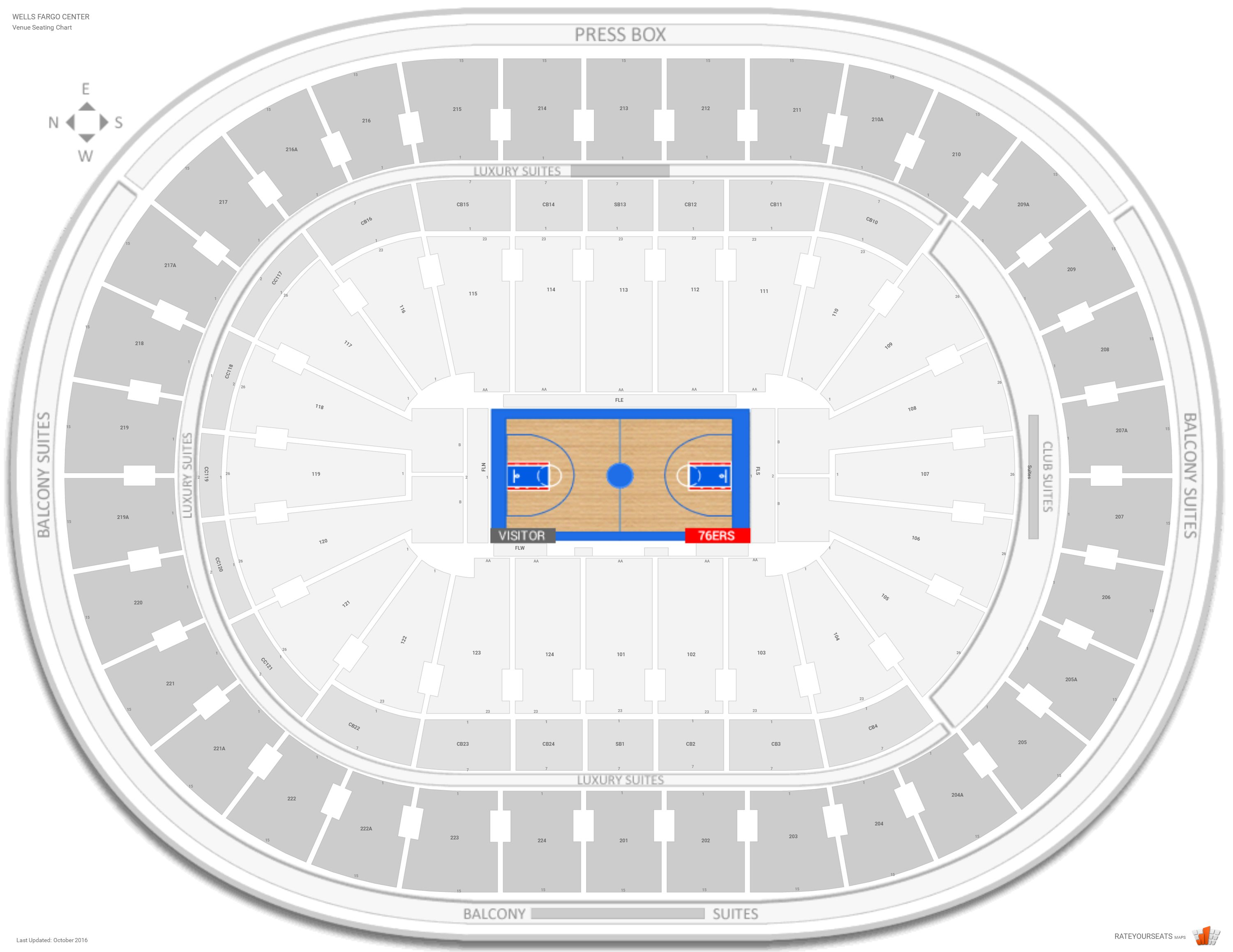 Wells Fargo Center Seating Chart With Row Numbers