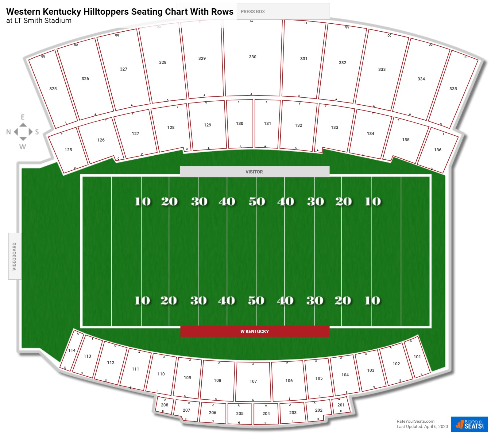 LT Smith Stadium seating chart with rows