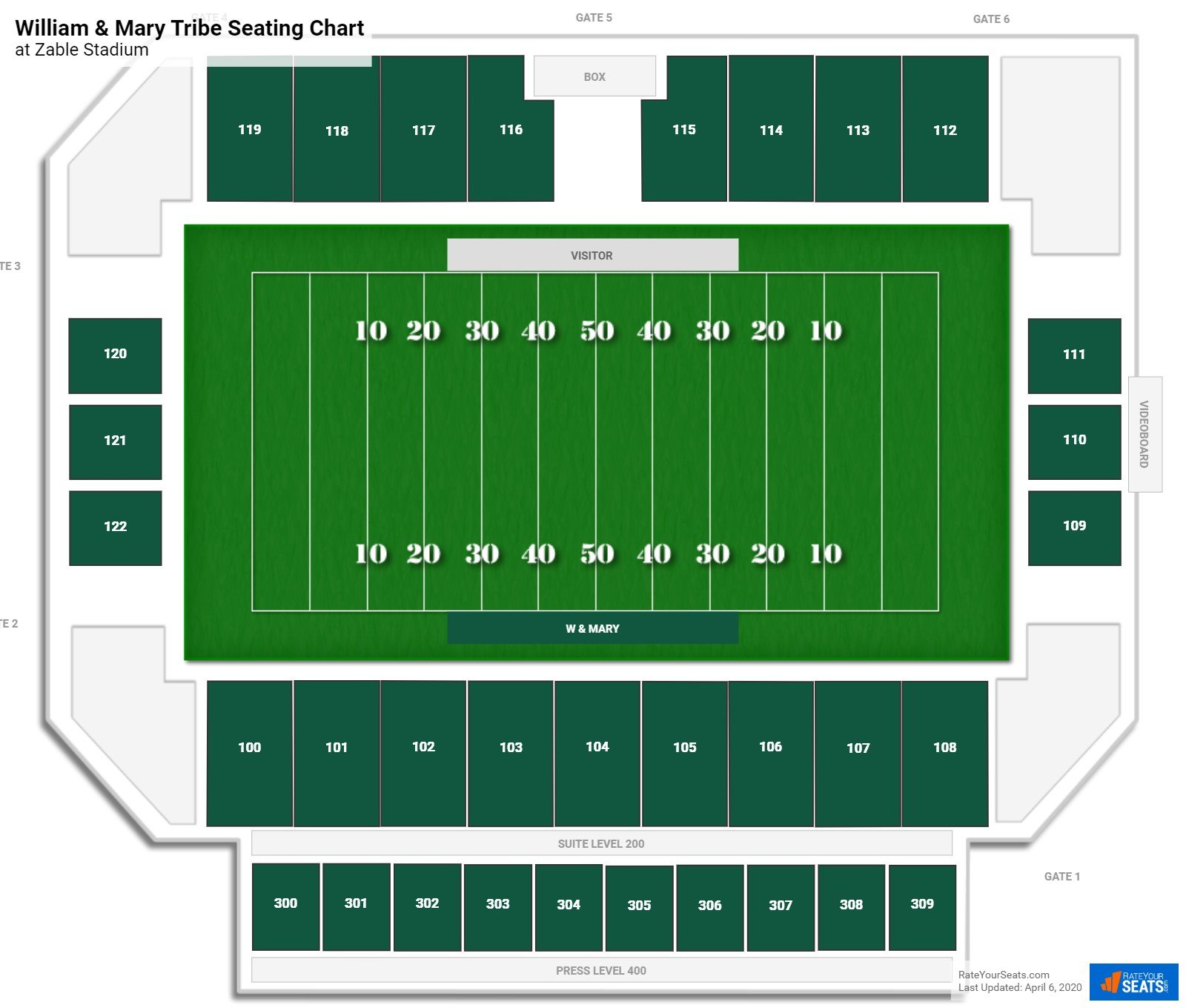 William & Mary Football Seating Chart