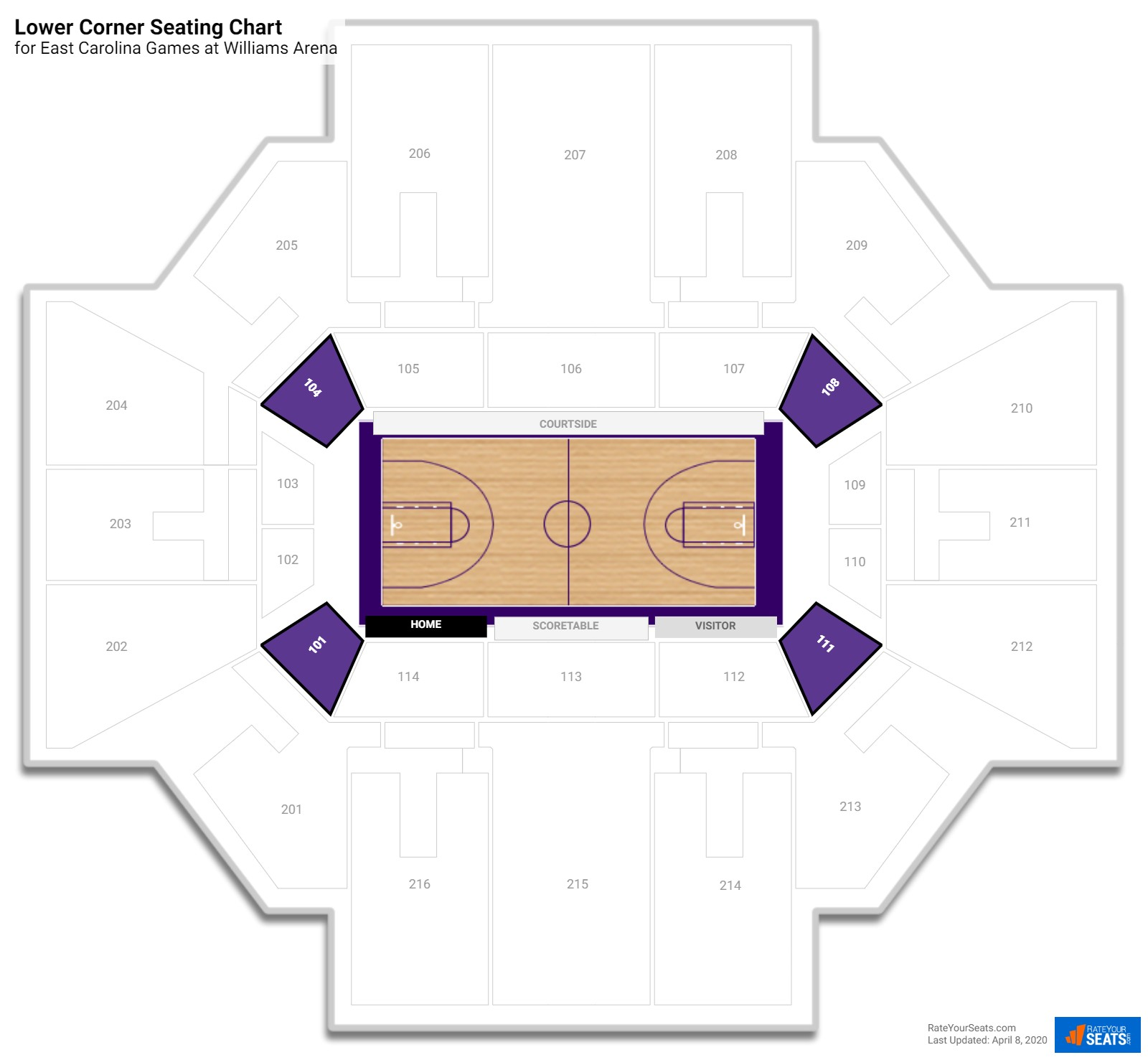 Williams Arena Lower Level Corner seating chart