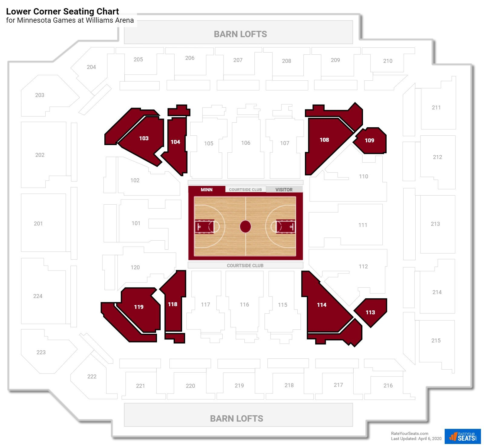 Williams arena minnesota seating guide rateyourseats com