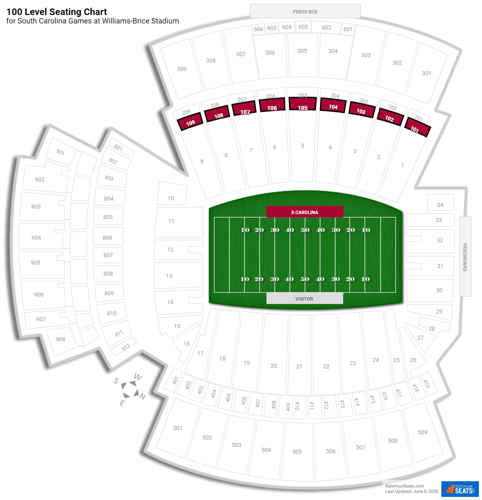 Williams-Brice Stadium 100 Level seating chart