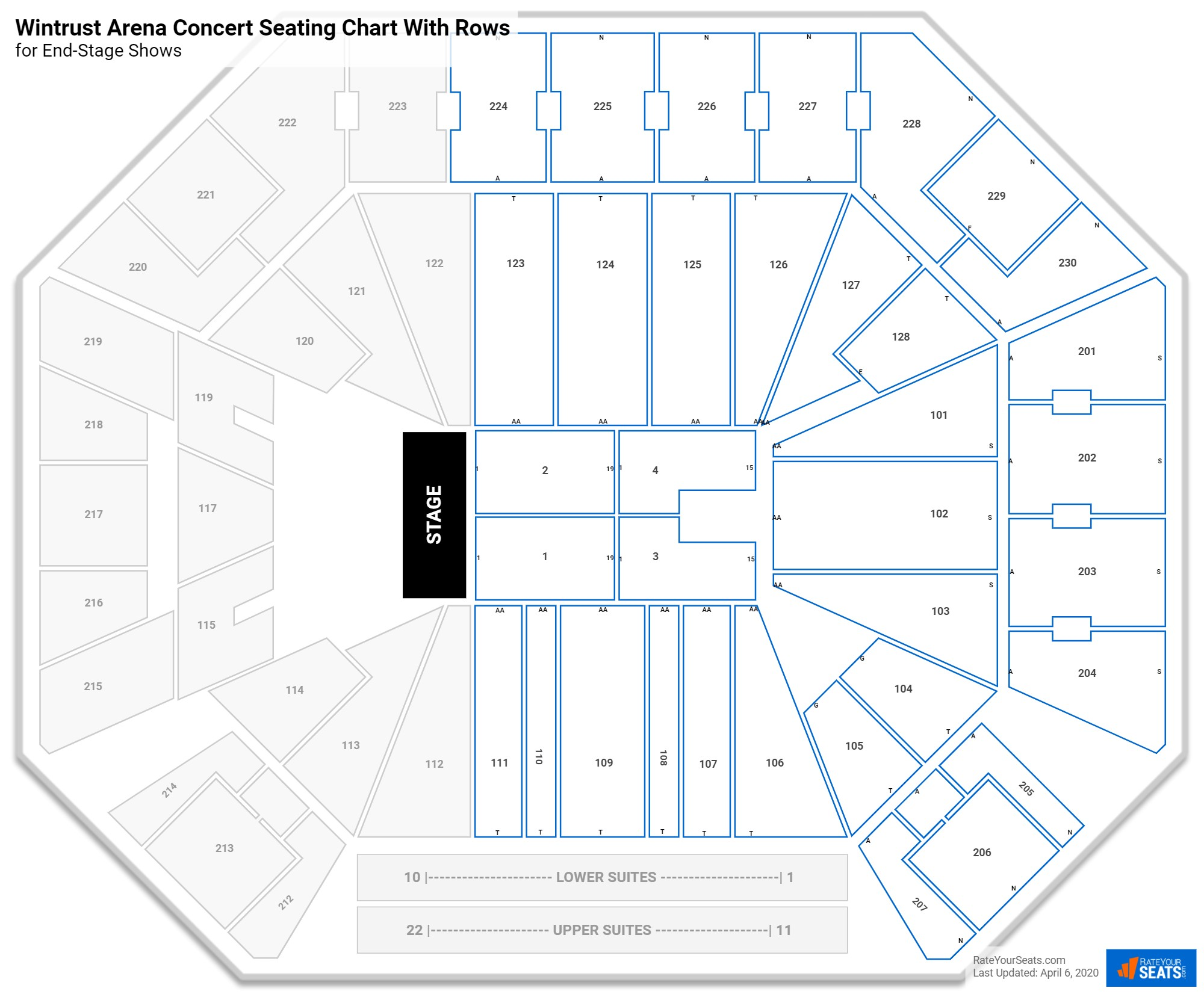 Wintrust Arena seating chart with rows concert