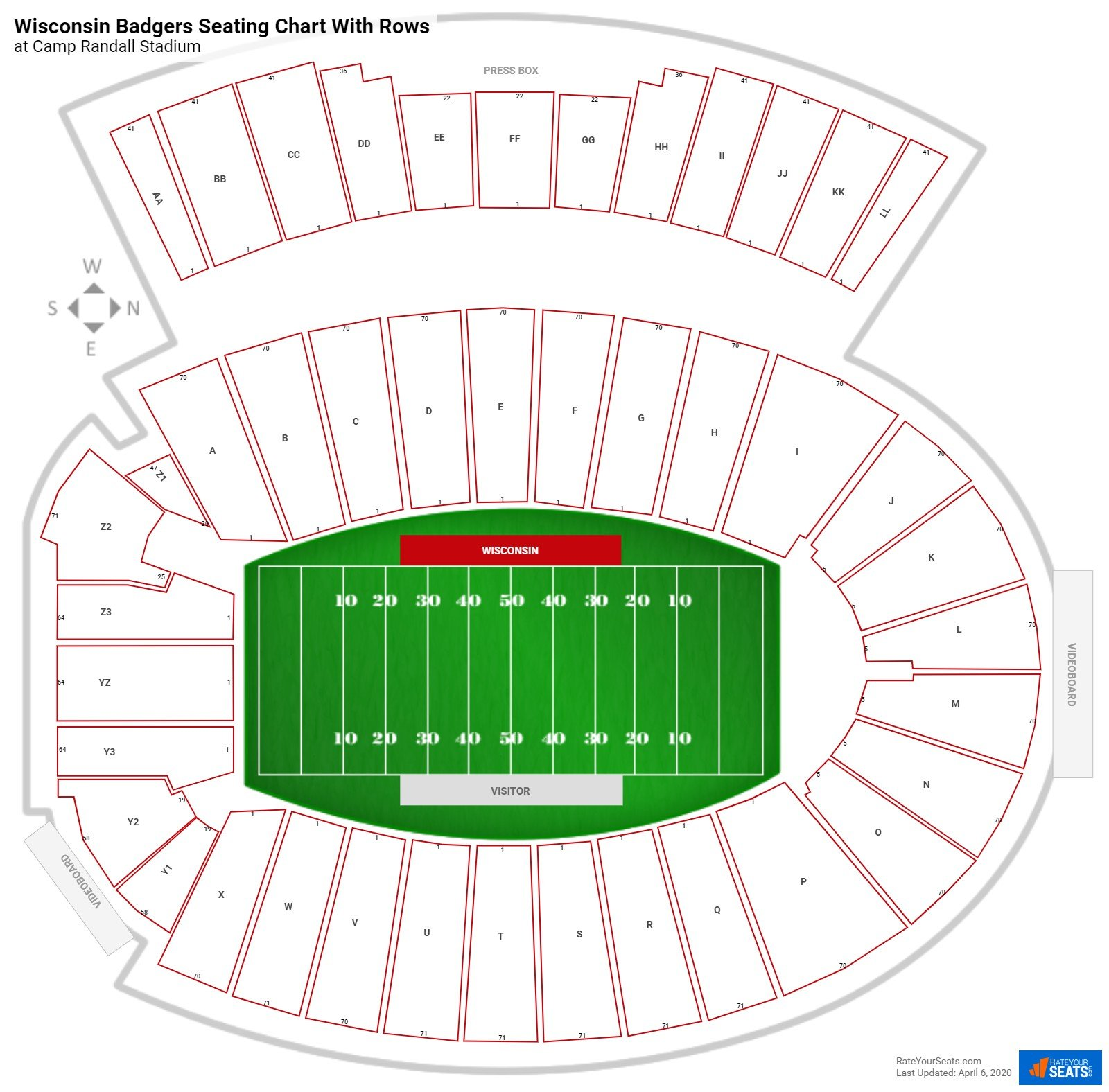 Camp Randall Stadium seating chart with rows