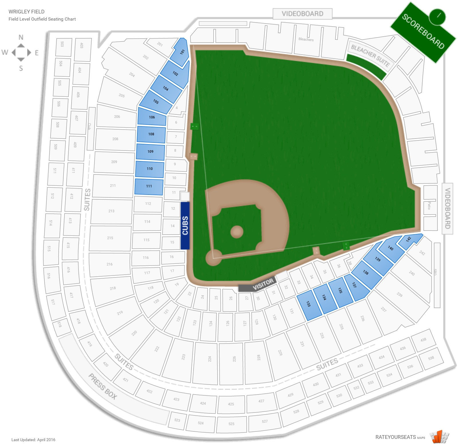 Wrigley Field Field Box Outfield seating chart