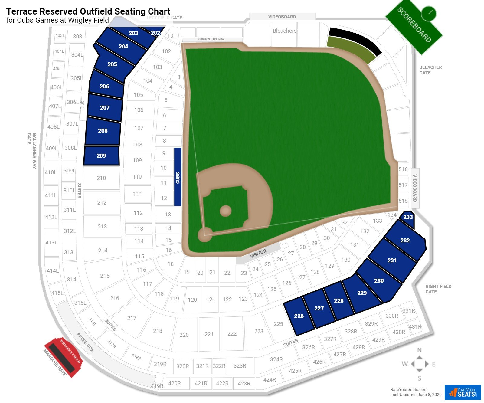 Wrigley Field Terrace Level Outfield seating chart