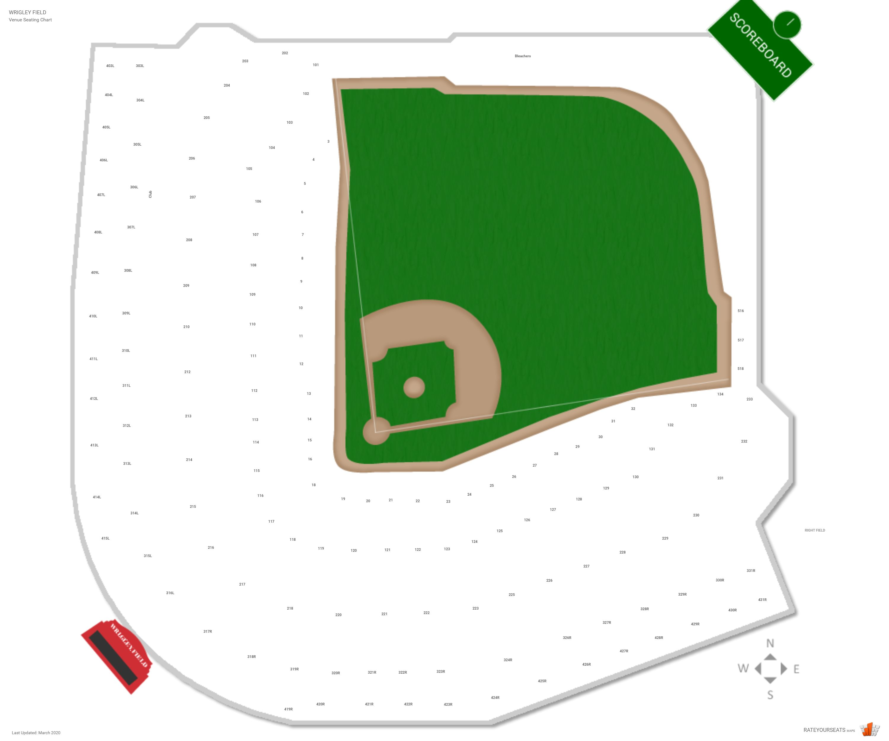 Wrigley Field Seating Chart With Row Numbers