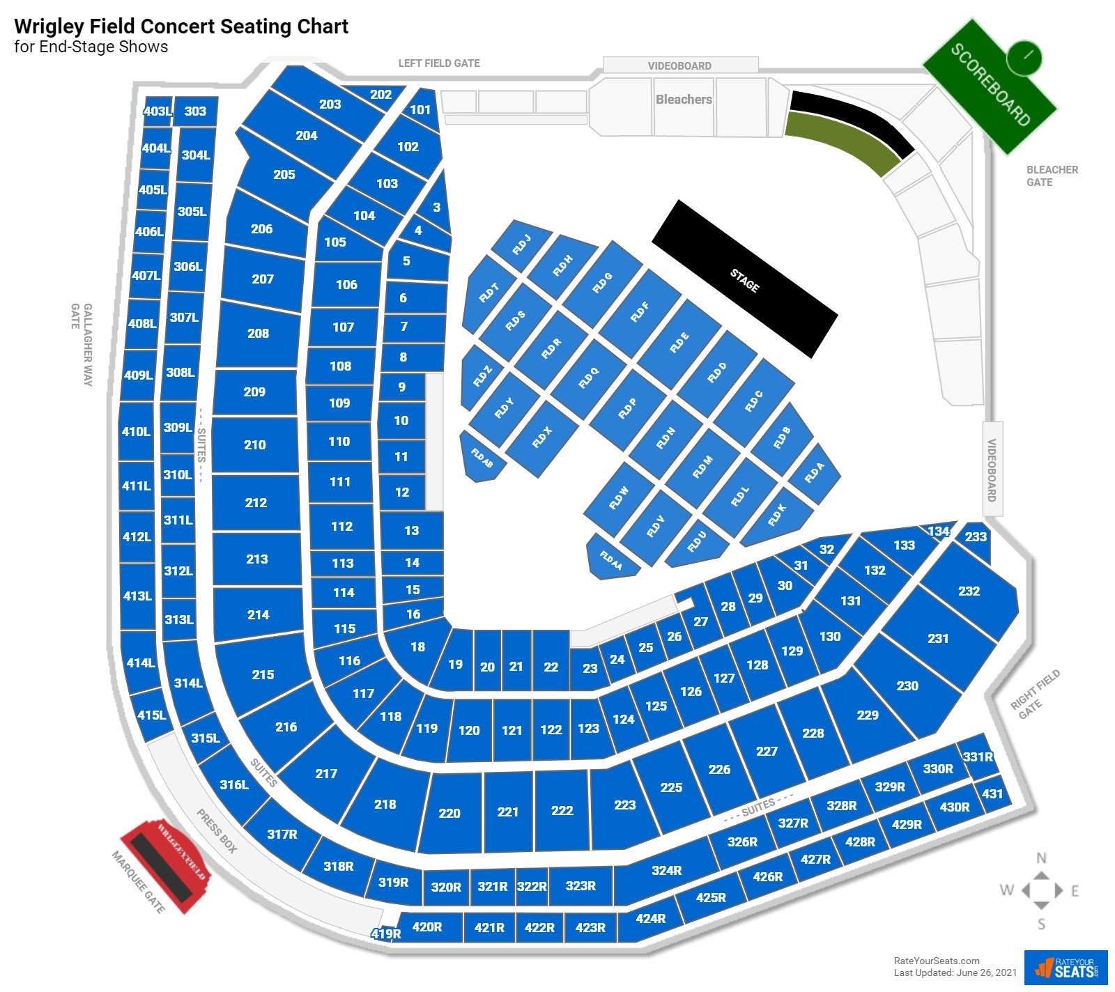 Wrigley Field Seating Chart for Concerts