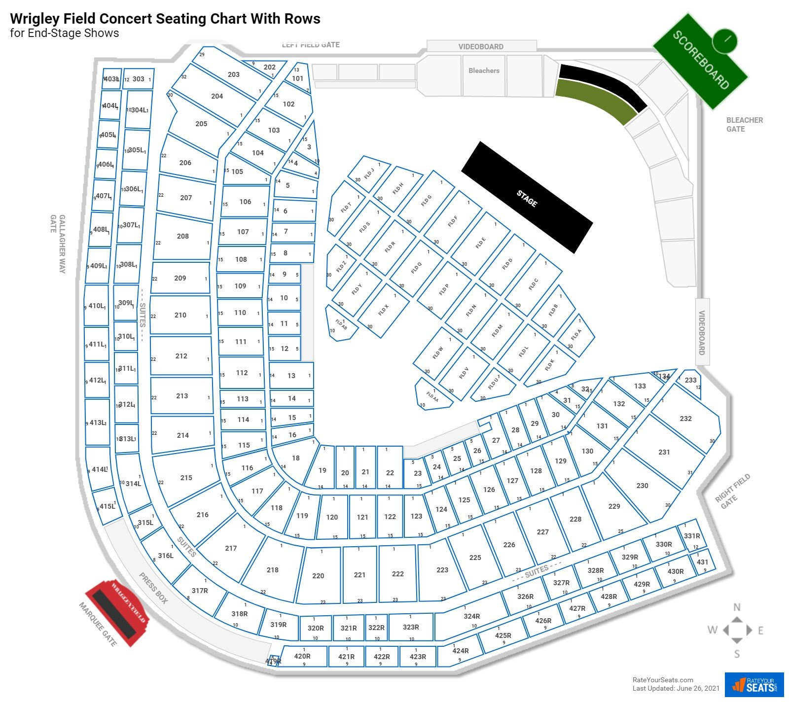 Wrigley Field seating chart with rows concert