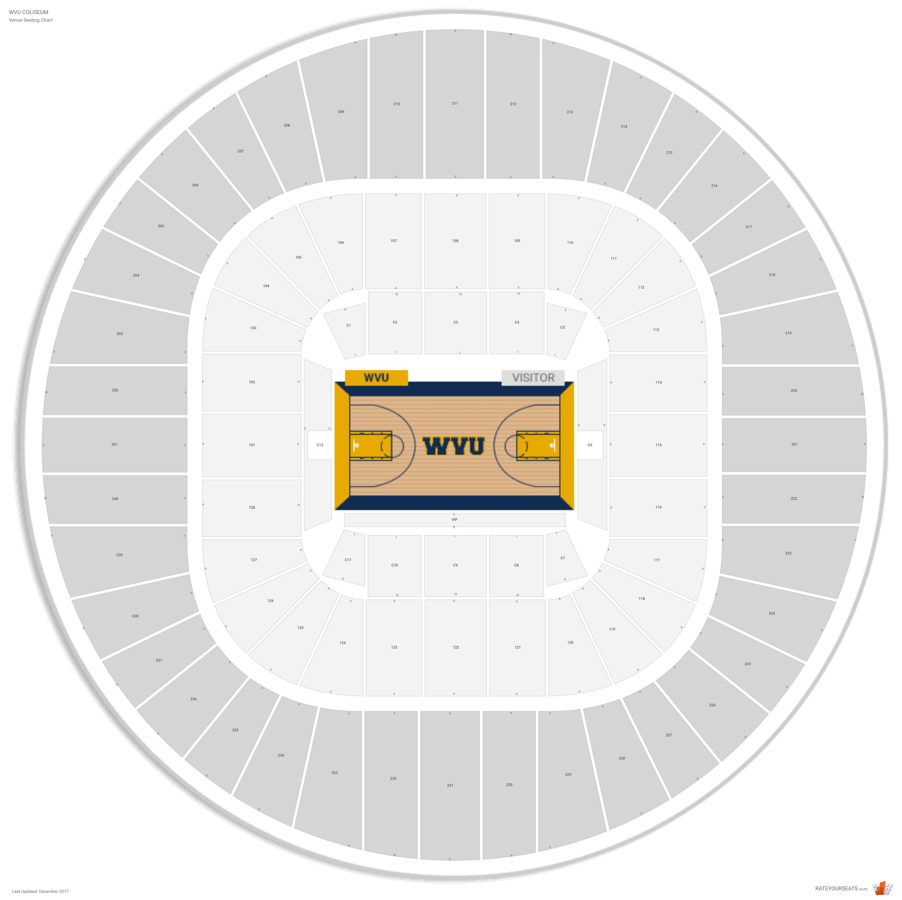 Wvu coliseum west virginia seating guide rateyourseats com
