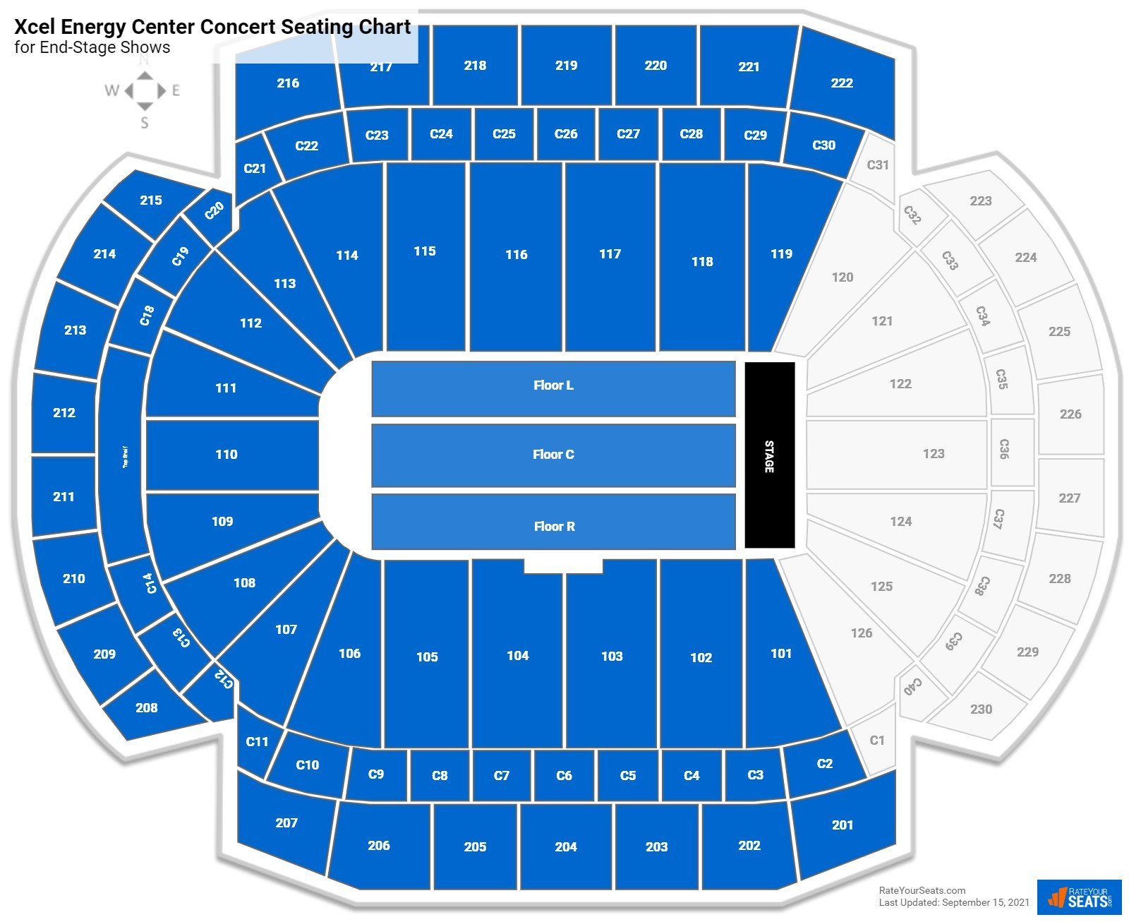 Xcel Energy Center Seating Chart for Concerts