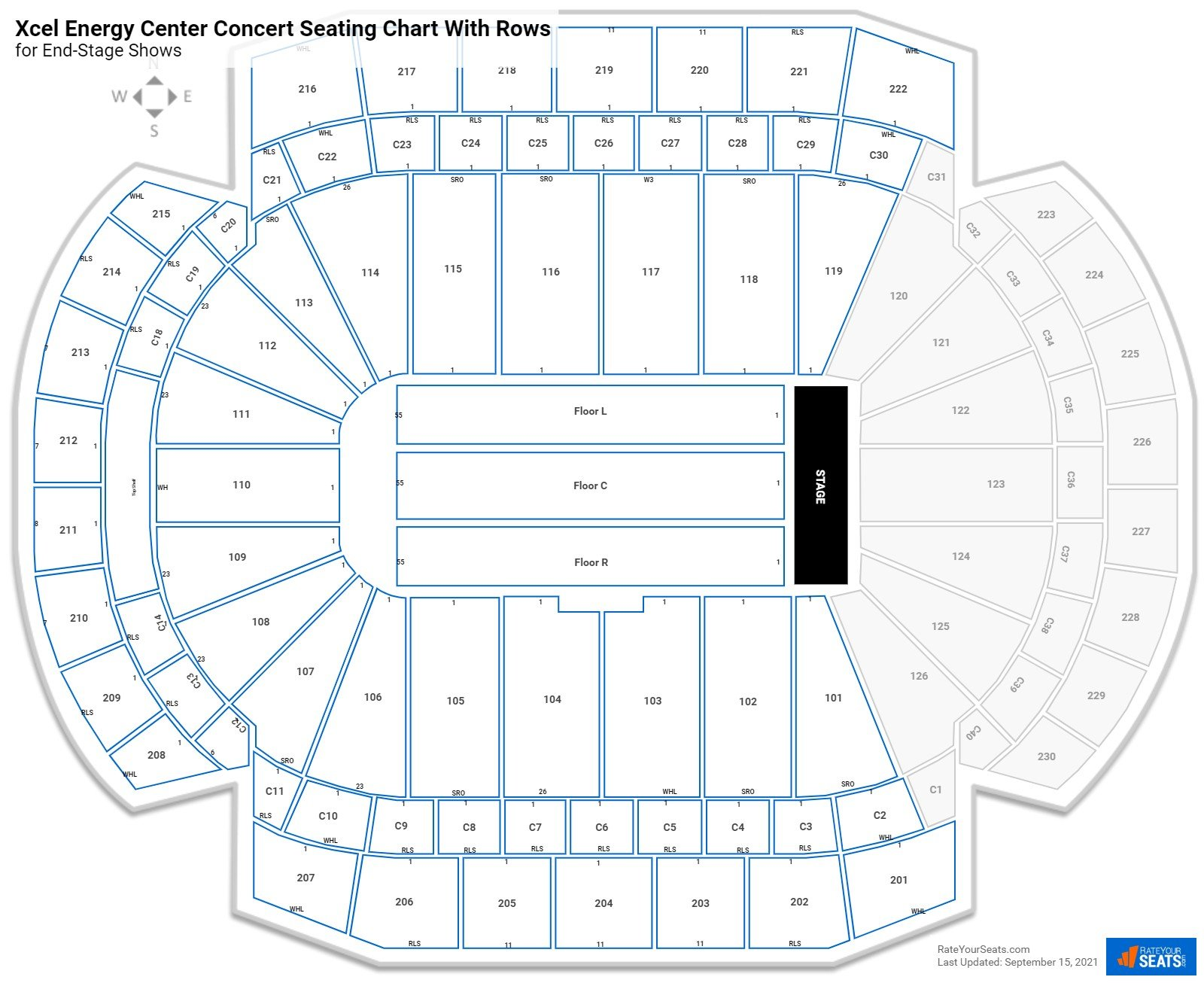 Xcel Energy Center seating chart with rows concert