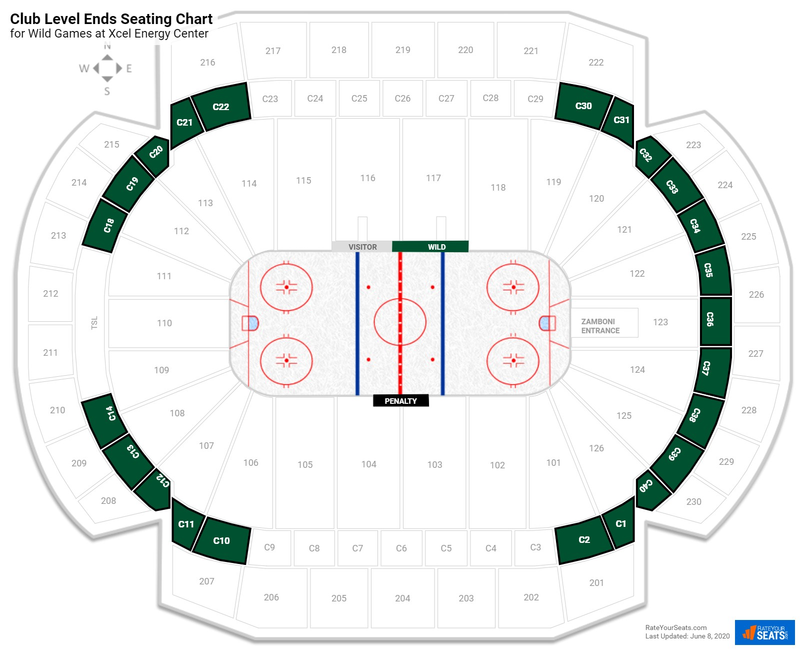 Xcel Energy Center Club Level End seating chart