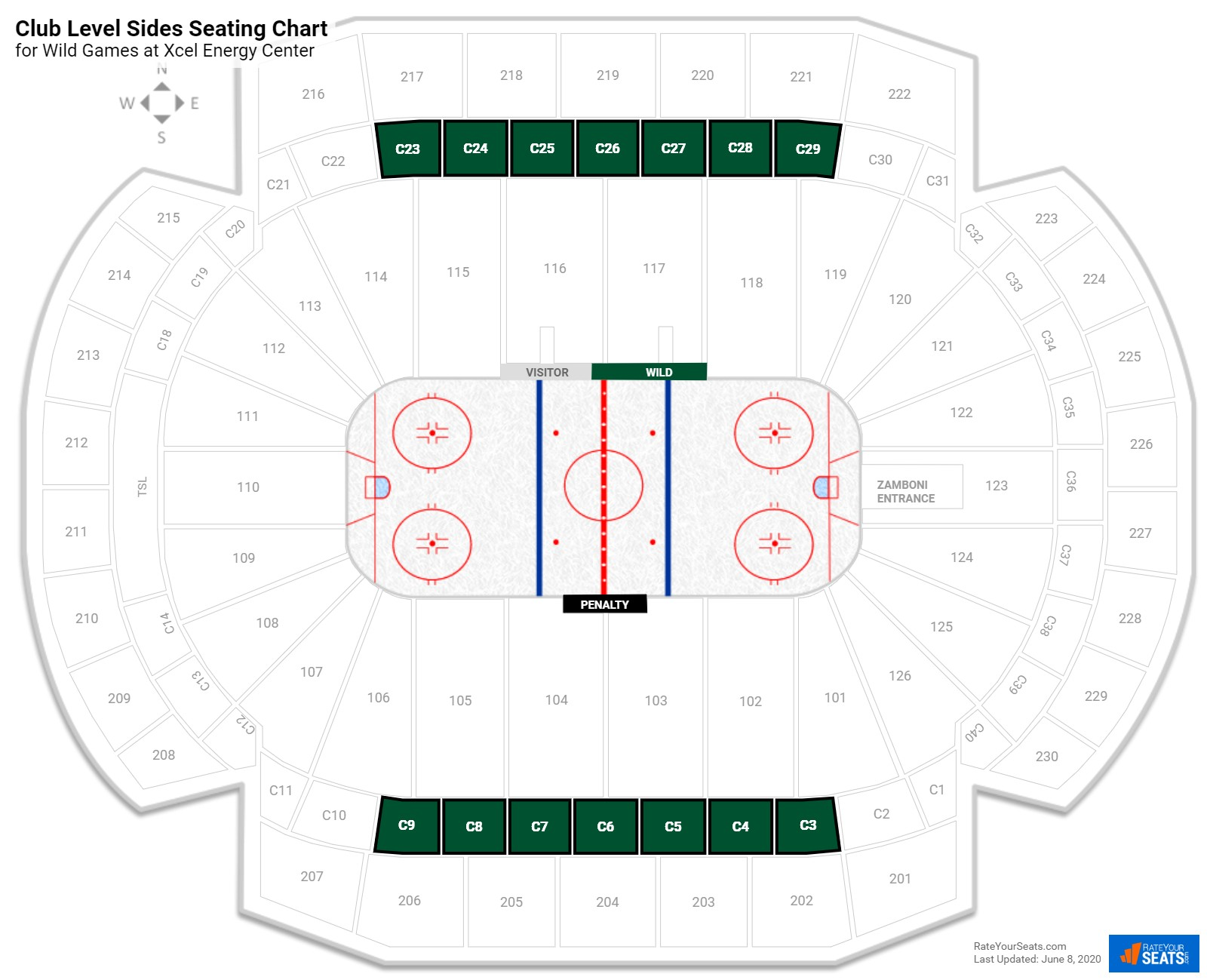 Xcel Energy Center Club Level Side seating chart