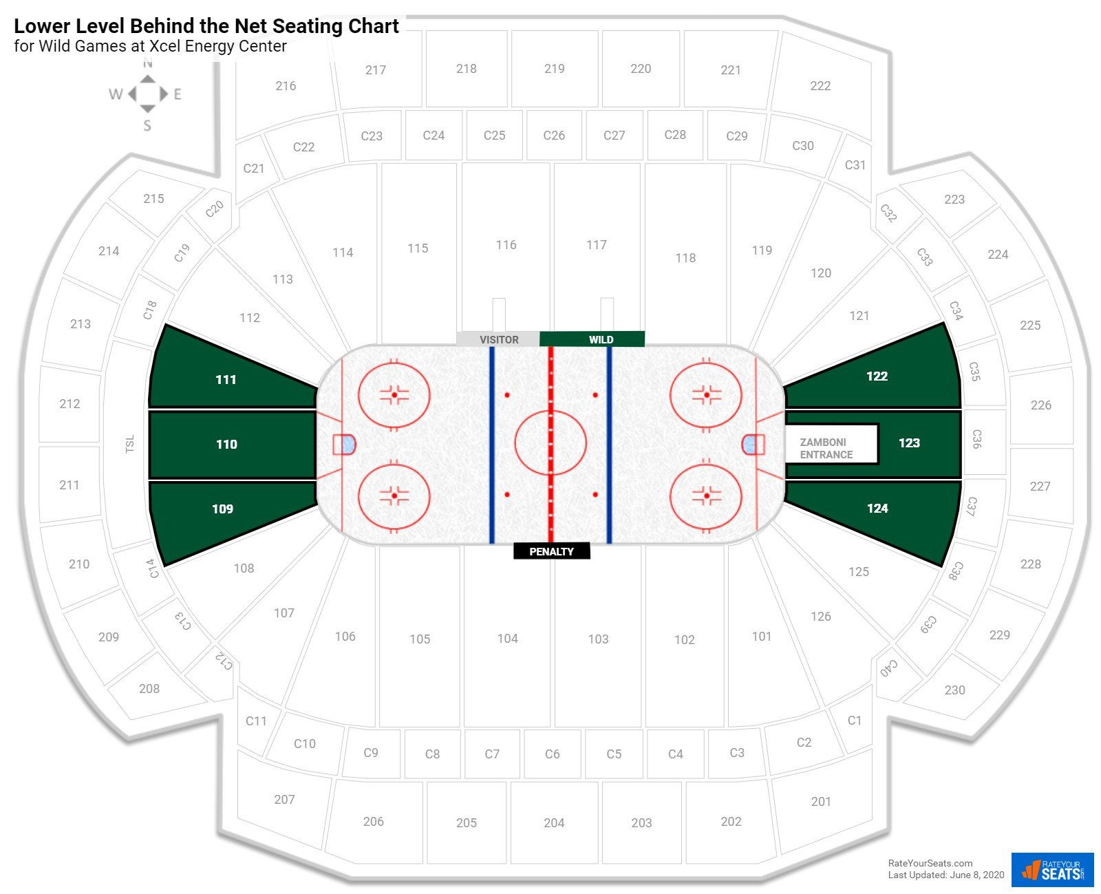 Xcel Energy Center Lower Level Behind the Net seating chart