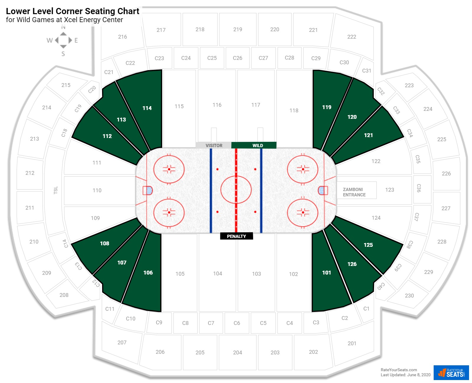 Xcel Energy Center Lower Level Corner seating chart