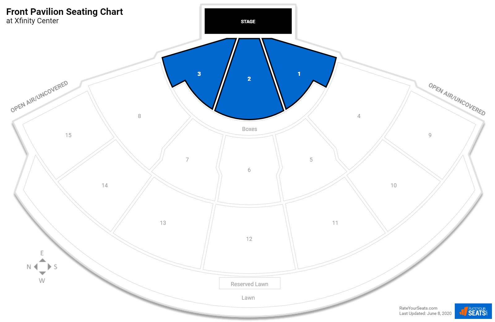 Xfinity Center Front Pavilion seating chart