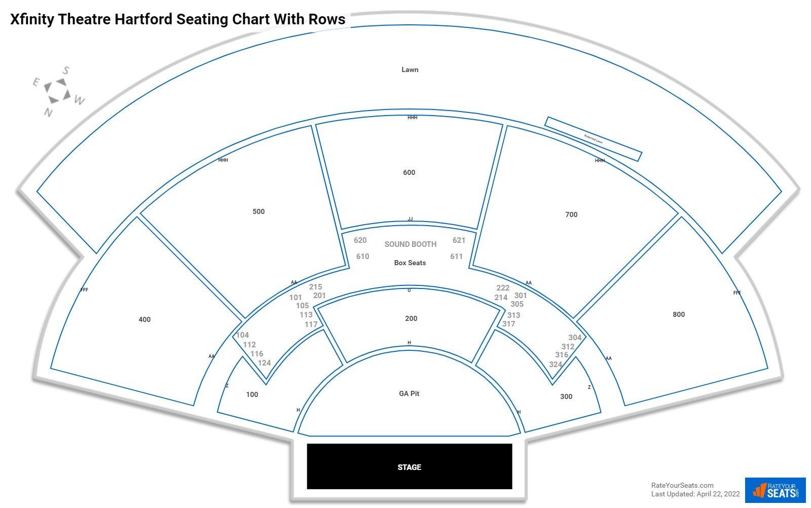 Xfinity Theatre Hartford Seating Chart Rateyourseats Com