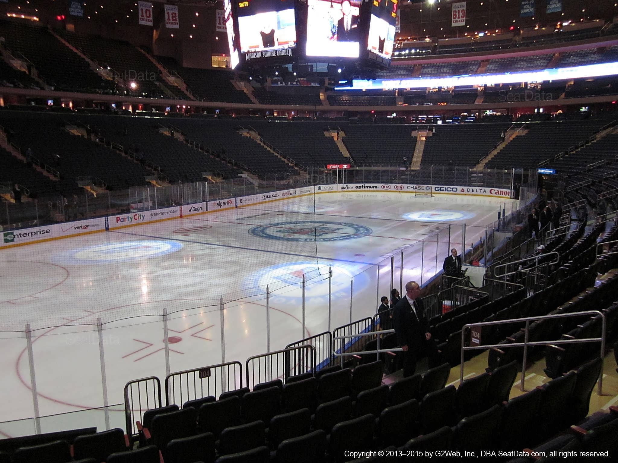 Madison Square Garden Section 104 New York Rangers