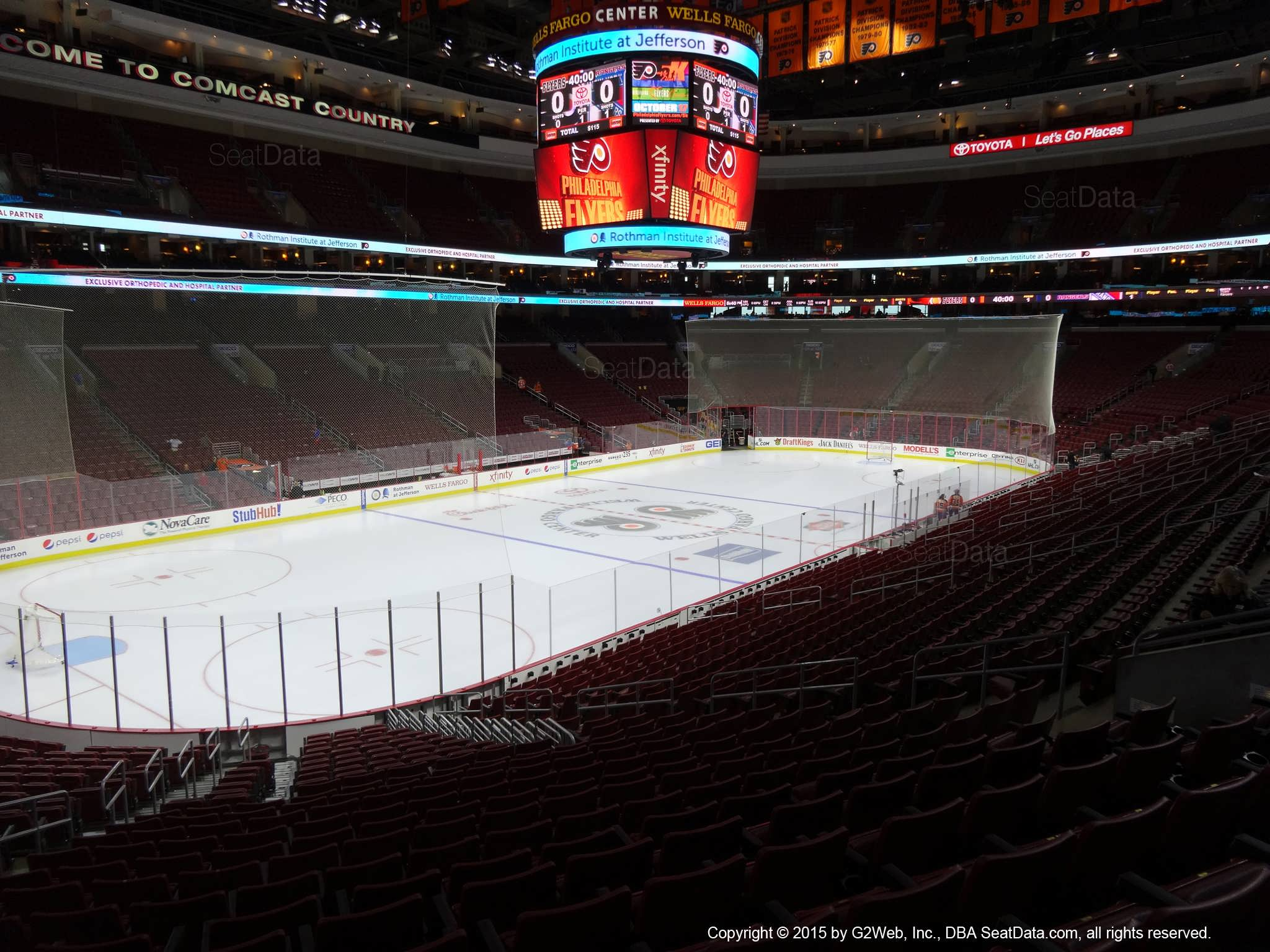 Philadelphia Flyers Seat View for Wells Fargo Center Club Box 10