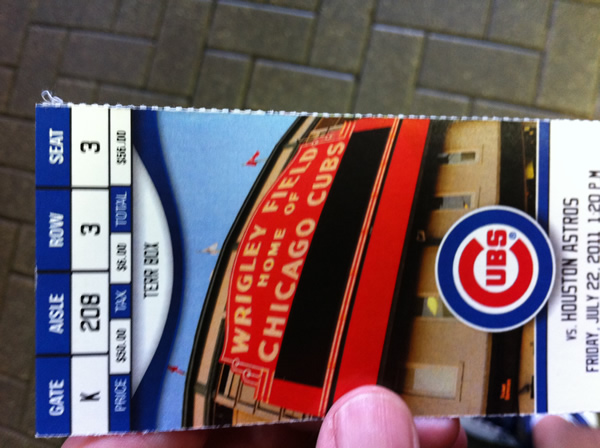 Wrigley Field Section 207 Ticket Stub