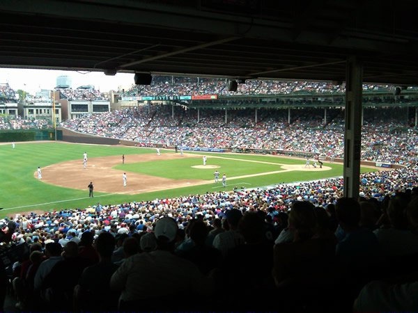 Shaded seating in Section 208 at Wrigley Field
