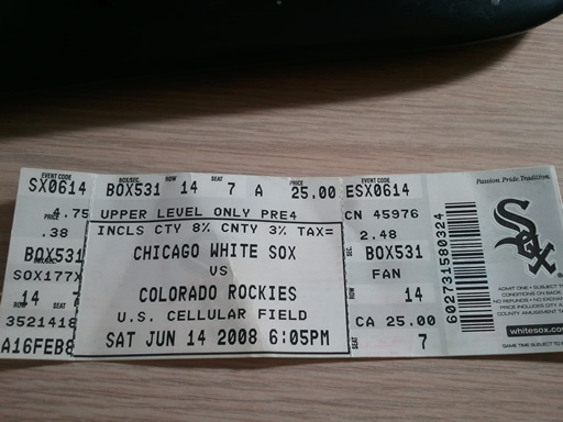 Guaranteed Rate Field Section 531 Ticket Stub