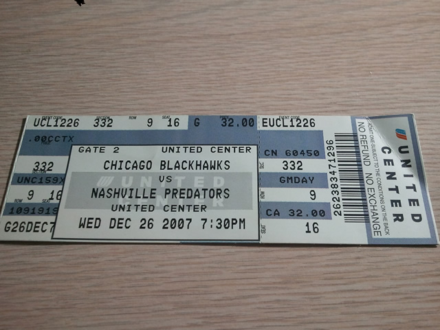 United Center Section 332 Ticket Stub