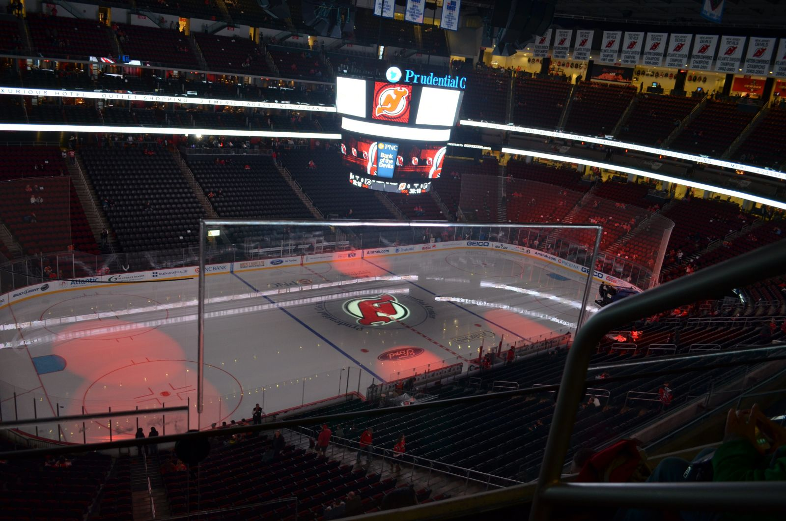 New Jersey Devils Seat View for Prudential Center Section 108, Row 2, Seat 1