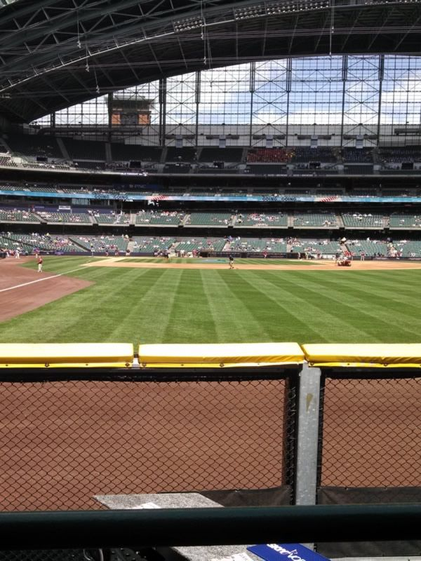 Seat View for Miller Park Section 104, Row 1, Seat 14
