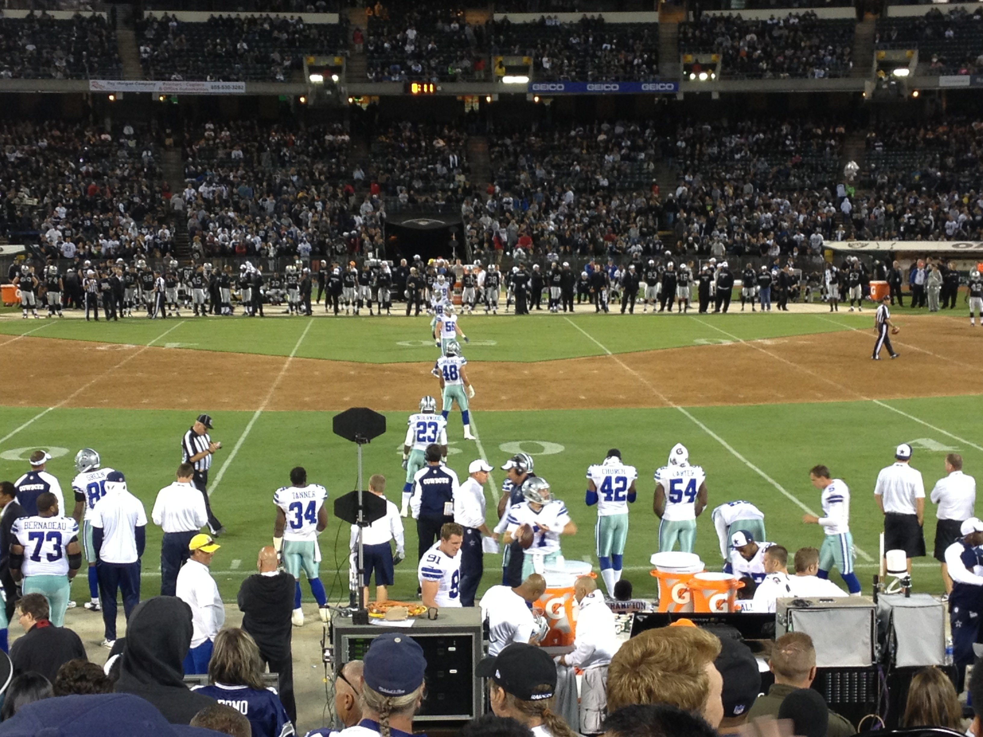 Oakland Raiders Seat View for Oakland Coliseum Section 142, Row 12, Seat 9