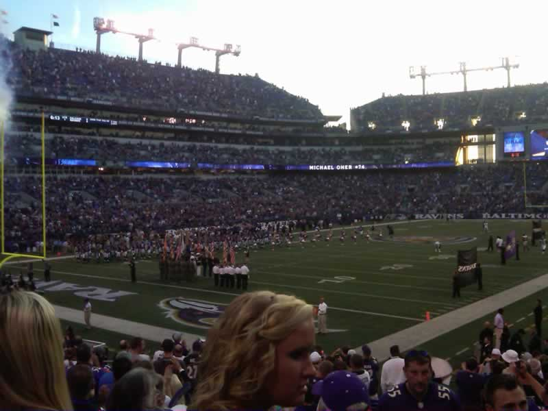 Seat View for M&T Bank Stadium Section 109, Row 18, Seat 1